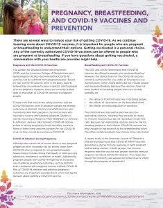 Pregnancy, Breastfeeding, and COVID19 Vaccine and Prevention Factsheet 2021-1